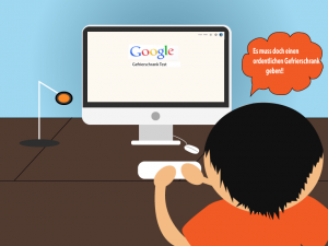 Ben sucht bei Google nach einem Gefrierschrank Test
